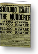 President Greeting Cards - John Wilkes Booth Wanted Poster Greeting Card by War Is Hell Store