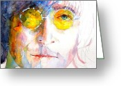 Rock  Painting Greeting Cards - John Winston Lennon Greeting Card by Paul Lovering