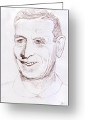 Pencil Drawing Greeting Cards - John Wooden Greeting Card by Jose Valeriano
