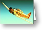 Texan Greeting Cards - John Zayac and T-6 Race 37 McDonald Racer Greeting Card by Gus McCrea