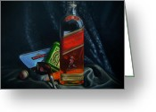 Cigarette Holder Greeting Cards - Johnnie Walker  Greeting Card by Epifanio jr Mendoza