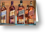 Whiskey Greeting Cards - Johnnie Walker Greeting Card by Mary Helmreich