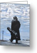 Celebrity Drawings Greeting Cards - Johnny Cash - Going to Jackson Greeting Card by Eric Dee