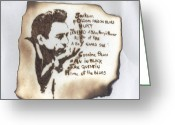 Music Pyrography Greeting Cards - Johnny Cash Greeting Card by Clarence Butch Martin