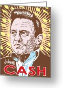 Carter Greeting Cards - Johnny Cash Pop Art Greeting Card by Jim Zahniser