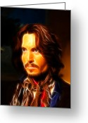 Denim Jacket Greeting Cards - Johnny Depp -  Pirates of the Caribbean Greeting Card by Lee Dos Santos
