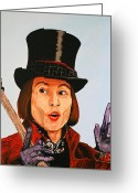 Willy Wonka Greeting Cards - Johnny Depp as Willy Wonka Greeting Card by Dean Manemann