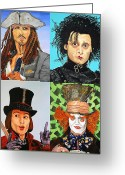 Willy Wonka Greeting Cards - Johnny Depp Collage Greeting Card by Dean Manemann