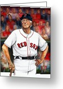 Red Sox Drawings Greeting Cards - Johnny Pesky  Greeting Card by Dave Olsen