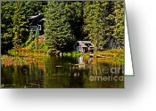 River Flooding Greeting Cards - Johnny Sack Cabin II Greeting Card by Robert Bales