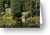 River Flooding Greeting Cards - Johnny Sack Cabin Greeting Card by Robert Bales