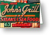 Humphrey Bogart Greeting Cards - Johns Grill in San Francisco . Home of The Maltese Falcon Greeting Card by Wingsdomain Art and Photography
