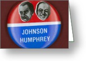 Hubert Greeting Cards - Johnson Campaign Button Greeting Card by Granger