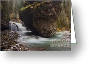 Johnston Greeting Cards - Johnston Creek waterfall Greeting Card by Keith Kapple