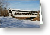 Bridge Prints Greeting Cards - Johnston Park Covered Bridge Greeting Card by LaMarre Labadie