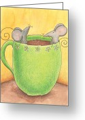 Yellow Drawings Greeting Cards - Join Me in a Cup of Coffee Greeting Card by Christy Beckwith