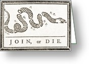 1750s Greeting Cards - Join Or Die, French And Indian War Greeting Card by Photo Researchers