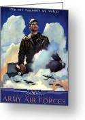 Bombers Greeting Cards - Join The Army Air Forces Greeting Card by War Is Hell Store