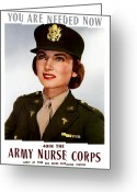 Nurse Greeting Cards - Join The Army Nurse Corps Greeting Card by War Is Hell Store