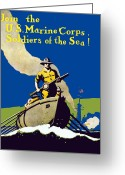 Marine Corps Greeting Cards - Join The US Marines Corps Greeting Card by War Is Hell Store