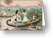 Ancient People Greeting Cards - Joined By His Family, A Courtier Hunts Greeting Card by H.M. Herget