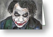 Batman Greeting Cards - Joker Greeting Card by Tom Carlton