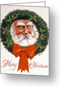 Featured Painting Greeting Cards - Jolly Old Saint Nick Greeting Card by Richard De Wolfe