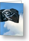 Pennant Greeting Cards - Jolly Roger Greeting Card by Kristin Elmquist