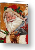 Spiritual Art Greeting Cards - Jolly Santa Greeting Card by Enzie Shahmiri