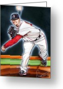 Red Sox Drawings Greeting Cards - Jon Lester Greeting Card by Dave Olsen