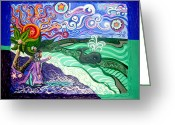 Scene Mixed Media Greeting Cards - Jonah and The Whale Greeting Card by Genevieve Esson