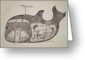 Happy Texas Artist Greeting Cards - Jonah in his whale home. Greeting Card by Fred Jinkins