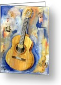 Guitar Greeting Cards - Jonathan Greeting Card by Cheryl Pass
