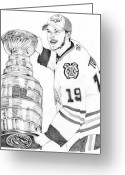 Championship Drawings Greeting Cards - Jonathan Toews Greeting Card by Kiyana Smith