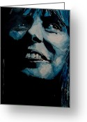 Portrait Greeting Cards - Joni Mitchell Greeting Card by Paul Lovering
