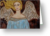 Religious Art Painting Greeting Cards - Jophiel Greeting Card by Rain Ririn