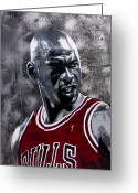 Athlete Greeting Cards - Jordan Greeting Card by Bobby Zeik