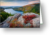 Beautiful Clouds Greeting Cards - Jordan Pond Sunrise  Greeting Card by Susan Cole Kelly