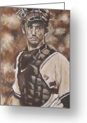 Major League Baseball Greeting Cards - Jorge Posada New York Yankees Greeting Card by Eric Dee