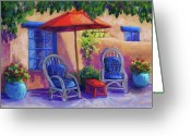 Adobe Pastels Greeting Cards - Josefinas Courtyard Greeting Card by Candy Mayer