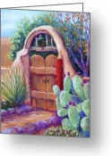 Adobe Pastels Greeting Cards - Josefinas Gate Greeting Card by Candy Mayer