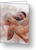 Artistic Nude  Greeting Cards - Joseph Greeting Card by Mark Ashkenazi