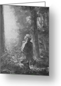 Christian Sacred Greeting Cards - Joseph Smith Praying in the Grove Greeting Card by Lewis A Ramsey