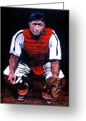 Negro Leagues Painting Greeting Cards - Josh Gibson - Catcher Greeting Card by Ralph LeCompte