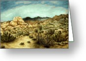 National Drawings Greeting Cards - Joshua Trees - California Landscape Greeting Card by Peter Art Prints Posters Gallery