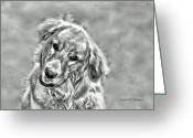 Playful Pups Greeting Cards - Josie Greeting Card by Kenny Francis