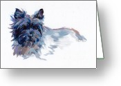 Midnight Greeting Cards - Josie Greeting Card by Kimberly Santini