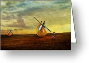 Jousting Greeting Cards - Jousting Windmills Greeting Card by Patricia Ridlon