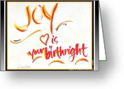 Birthright Greeting Cards - Joy Birthright Greeting Card by L Jaye  Bell