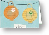 Bamboo Lanterns Greeting Cards - Joy Lanterns Greeting Card by Linda Woods